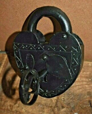 Large Antique Reproduction Heart Padlock with Key