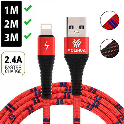 Long USB Charger Cable Heavy Duty Fast Charging Cord For iPhone X 8 7 6 SE iPad