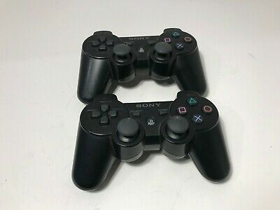 2 Official Sony Playstation 3 PS3 Dualshock 3 Sixaxis Black Controller GENUINE