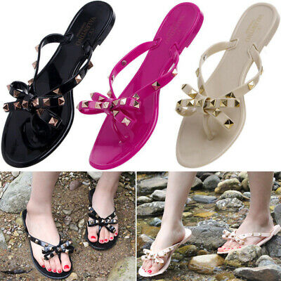 176a32a0 NEW Women's Flower Bow Rhinestone Sandals Flat Jelly Thong Flip Flops 6 to  11