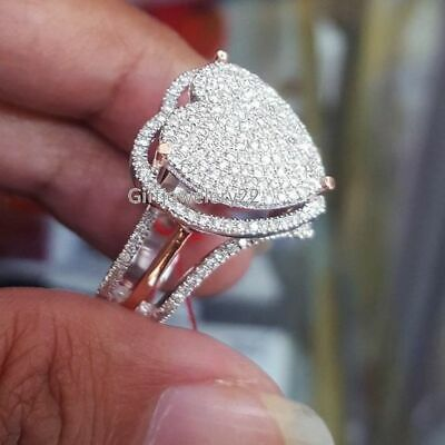 Delicate Women Fashion 925 Silver White Sapphire Heart Ring Wedding LOVE Jewelry