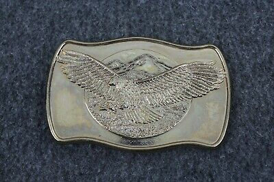 Vintage Soaring Bald Eagle Mountains Patriotic Nature Belt Buckle