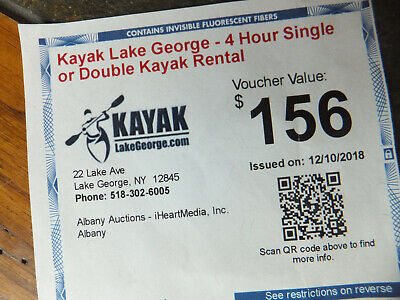 Kayak Lake George NY 4 Hour Single or Double Kayak Rental Voucher Value $156