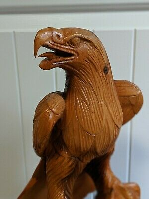 Tall Stunning Hand Carved Majestic Wooden Eagle Statue AMERICA Look @ those eyes