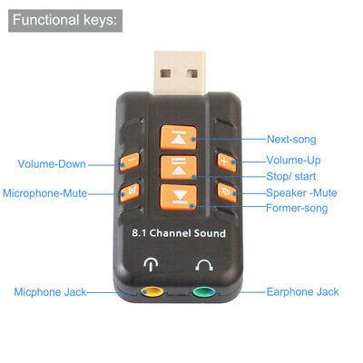 USB 8.1 Channel 3D Virtual External Audio Sound Card Adapter for Laptop Desktop