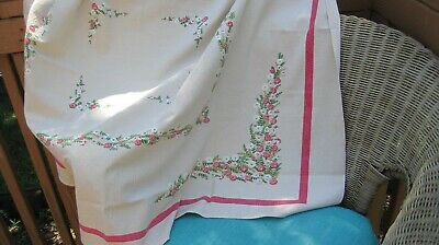 Pink Floral Vintage Tablecloth 52x42 Inches Cosmos Daisies