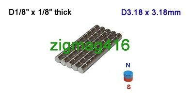 """D1/8"""" x 1/8"""" thick, N52, Rare Earth Neodymium Disc Magnet - Pack of 50"""
