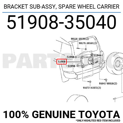 Toyota 51908-42050 Spare Wheel Carrier Bracket Sub Assembly