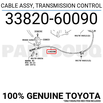 3382002300 Genuine Toyota CABLE ASSY TRANSMISSION CONTROL 33820-02300