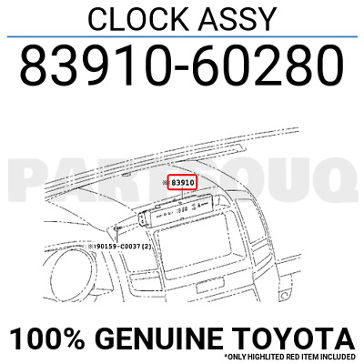 8391060280 Genuine Toyota CLOCK ASSY 83910-60280