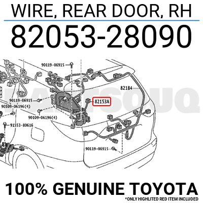 8205328090 Genuine Toyota WIRE, REAR DOOR, RH 82053-28090