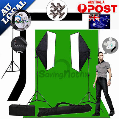 2750W Photo Studio 5 HEAD Softbox Lighting Light KIT+3X Backdrop Stand Support