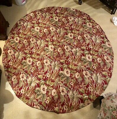 "Vintage 50's Round Barkcloth Table Cover Floral Tiki 62"" x 66"""