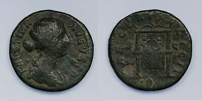 Faustina II AE As 161-175 AD, Two Boys on Throne reverse, COOL Type! Commodus?
