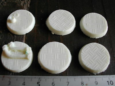 6x SOCLES/BASES ROND/ROUND 25MM RESINE TECHNICAL (NECROMUNDA/W40K... etc)  #210