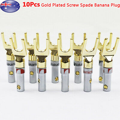 10x Gold Plated Spade Terminal Banana Plugs Screw Audio Wire Connector AU