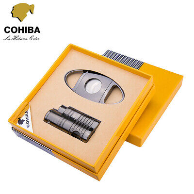 COHIBA Black Metal Windproof 4 Torch Jet Flame Cigar Lighter + Cutter Cigar Set