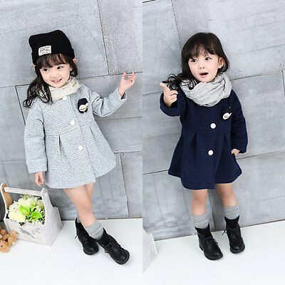 Kids Toddler Baby Girls Warm Trench Coat Hooded Outerwear Jacket Clothes Winter