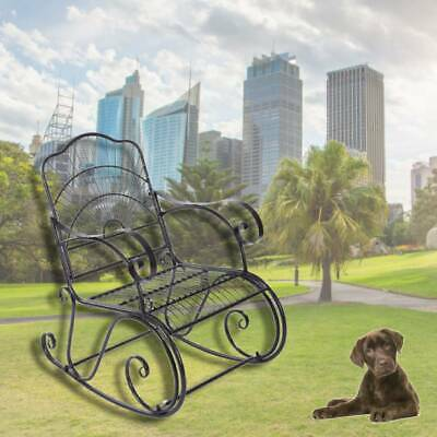 Metal 1 Seater Garden Outdoor Rocking Chair Vintage Style Coffee Patio UK