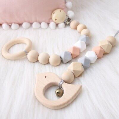 Geometric Silicone Wooden Beads Pacifier Chain Clip Baby Chewy Dummy Soother Toy