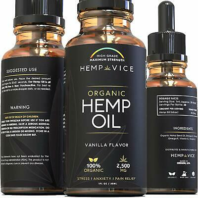 Organic Hemp Oil 2500mg for Pain Relief, Anxiety, Better Sleep Premium Extract