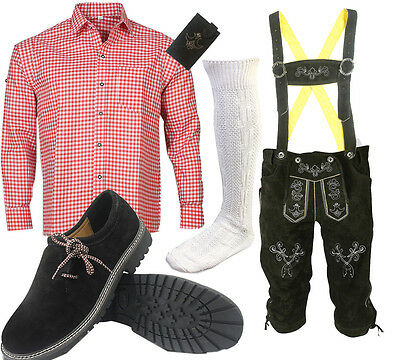 Men's Traditional Costume Set 6tlg Leather Pants with Shirt Shoes Socks