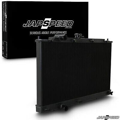 JAPSPEED BLACK 42mm ALLOY RADIATOR RAD FOR MITSUBISHI LANCER EVO 4 5 6 IV V VI