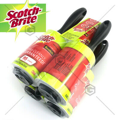 5 x 3M Scotch Brite Lint Roller Fluff Pet Hair Dust Remover Roll 475 Sheets AU
