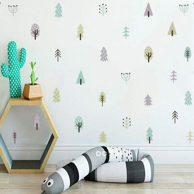 Nordic Style Woodland Tree Wall Decals For Nursery Decor 4-Color Tree Vinyl Wall