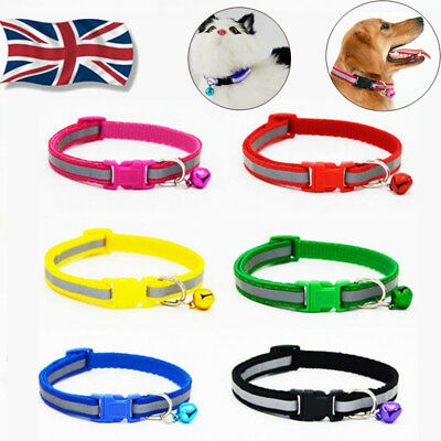 Reflective Cat Collar Safety Buckle Small Dog Pet Puppy Cat Collar with Bell UK