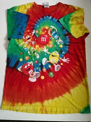 M&Ms T Shirt - Large dye multicolour  Retro, Vintage, Festival, Rave summer