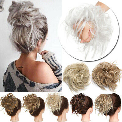 Large Thick Messy Bun Scrunchie Updo Wrap on Ponytail Hair Extension Hair Grey