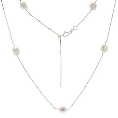 """White Natural Freshwater Keshi Pearl Necklace 925 Sterling Silver Chain 16.5"""""""