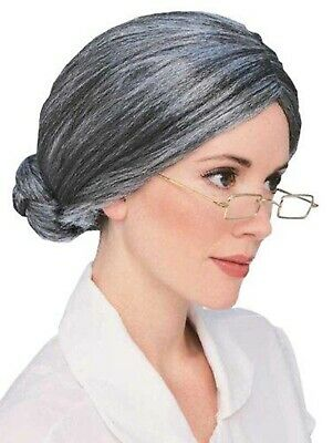 Granny Wig Old Lady Grey Silver Grandma Mrs Santa Wigs Cosplay Costume Party FIZ
