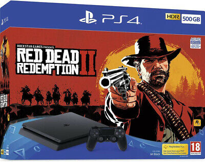 PS4 Console 500GB F Chassis Slim Black + Red Dead Redemption 2 EU