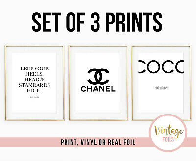 Set Of 3 Chanel Coco Chanel Quote Print A4 Foil Vinyl Bedroom Girl Poster Coco