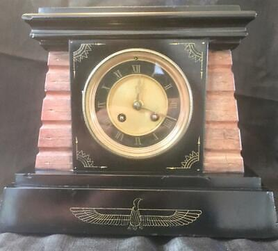 Antique french marble Egyptian revival clock
