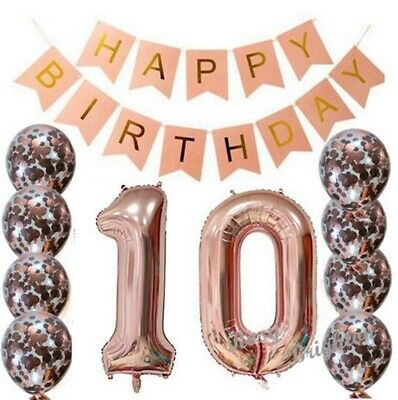 10th Rose Gold Birthday Party Pack 10 Garland Balloons FIZ