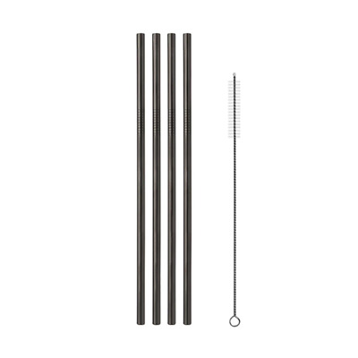 Set 4 Black Straight Stainless Steel Straws + Cleaning Brush FIZ