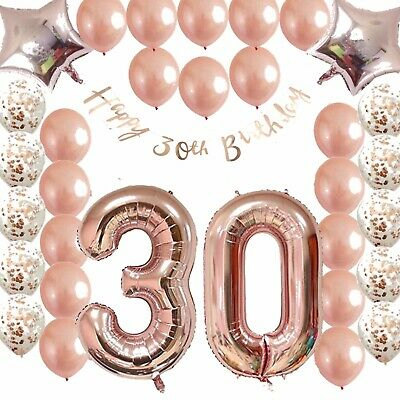 Ultimate 30th Rose Gold Birthday Balloon Pack 30 FIZ