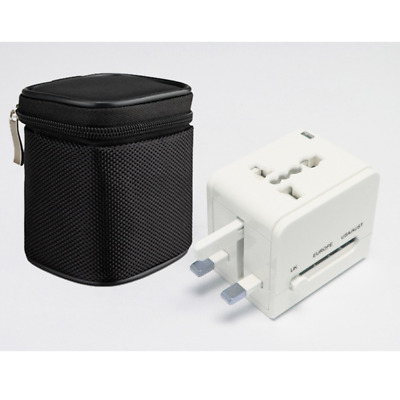 White 2 USB Port Universal Travel Adapter with Zip Bag FIZ