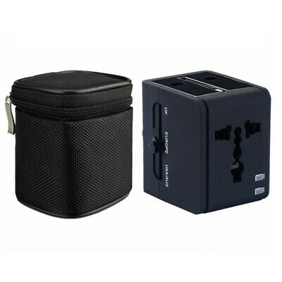 Black 2 USB Port Universal Travel Adapter with Zip Bag FIZ