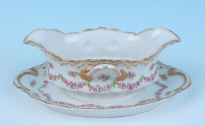 Haviland Drop Rose Swags Double Gold GRAVY BOAT w/ UNDERPLATE Sauce Porcelain