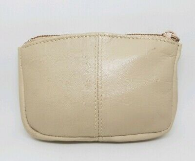 Ladies Small Coin Purse Mini Bag Hearing Aid Pouch Genuine Leather Beige *6326