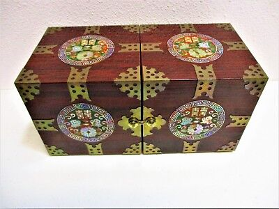 Jewelry Box Asian Mother Of Pearl Inlay Brass Accents Cherry Laquer Folding
