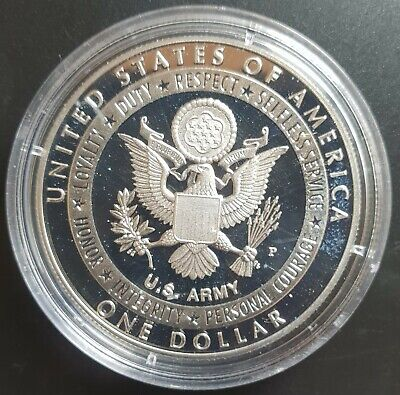 2011 S US (US ARMY) PROOF Silver Dollar Coin in Mint Capsule....
