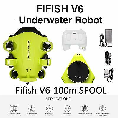 Underwater Drone Fifish V6 with 6 Movement Directions 100m+spool Camera 4K