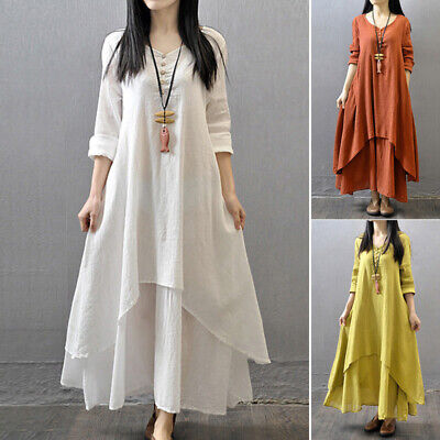 Brick Red women Dress loose peasant Ethnic Linen summer Long Gypsy hot