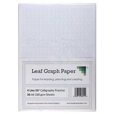 Calligraphy Practice Paper, 4 Line Style 100gsm , A4 Loose-Leaf 20 Sheet Pack