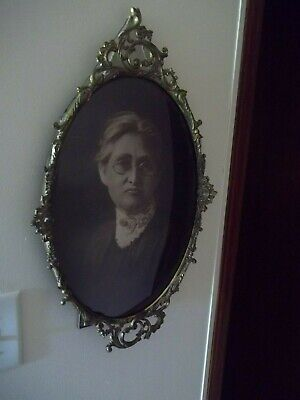 Vintage Antique Bubble Convex Glass - Brass Picture Frame- Women- School Teacher
